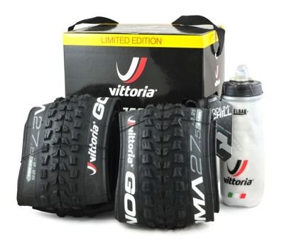 Set: 2xVittoria Goma TNT Tubeless Ready Folding Tire 27.5x2.25 + Camelbak Podium